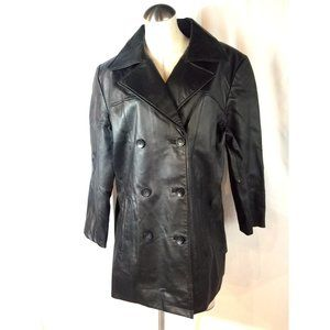 Jacqueline Ferrar 1X Black Leather Coat